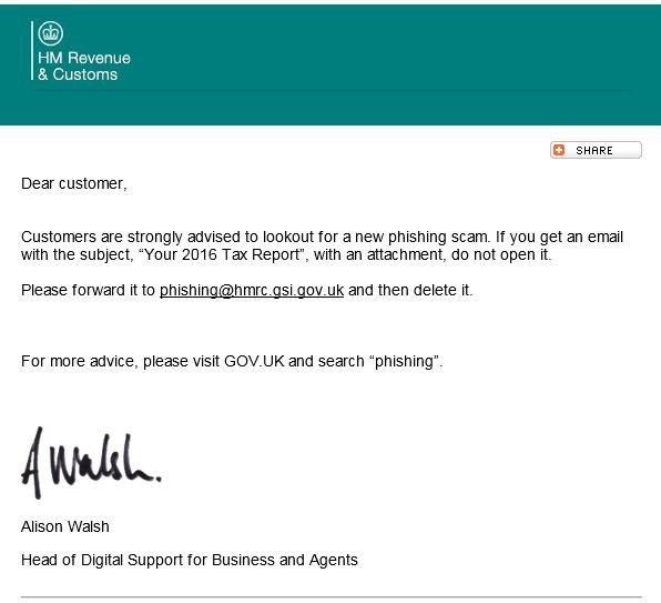 Phishing Scam – HMRC Advice